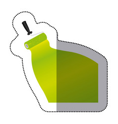 Sticker paint roller with stroke of paint green vector
