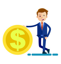 Successful man in biz suit keeps hand on big coin vector