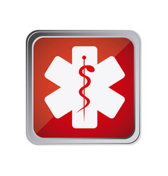 Button with star of life with background red vector