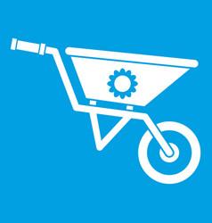 Wheelbarrow icon white vector
