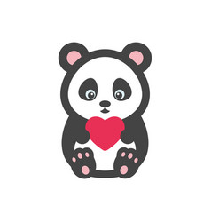 Panda bear with heart vector
