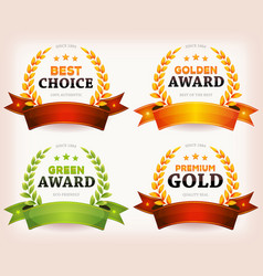 awards palms laurel leaves with banners and vector image