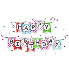Happy birthday banner with bunting flags vector