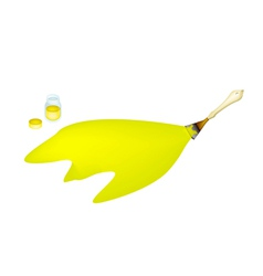 Artist brush painting yellow color vector