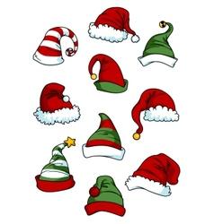 Clown joker and Santa Claus cartoon hats vector image