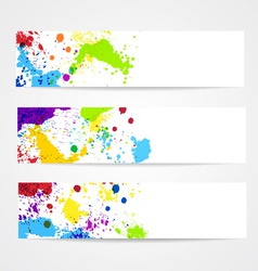 Watercolor splash banners vector