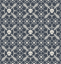 Seamless pattern with skulls and original design vector image