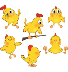 Set of cute cartoon yellow chick vector
