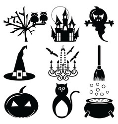 2 halloween icons set vector