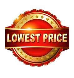 Lowest price guarantee golden label with ribbon vector