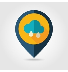 Rain cloud flat pin map icon meteorology weather vector