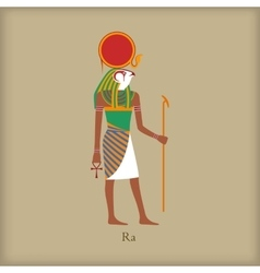 Ra god of the sun icon flat style vector