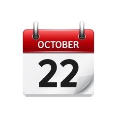October 22 flat daily calendar icon date vector