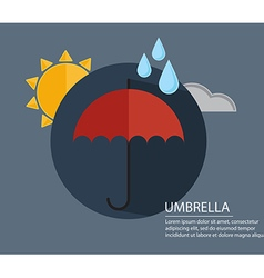 Umbrella with season weather sign with long shadow vector