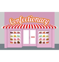 Confectionary storefront with cakes pieces of cake vector