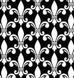 Fleur de lis symbol white pattern on black vector image