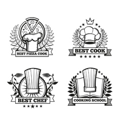 Chef hat labels template for restaurant vector