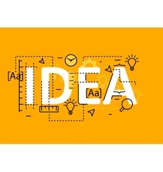 Idea concept flat line design with icons and vector