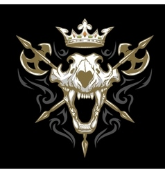 Skull of a lion crown and weapons vector
