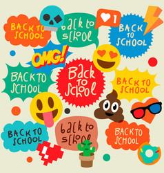 Back to school speech bubbles stickers emoji vector
