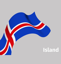 background with iceland wavy flag vector image