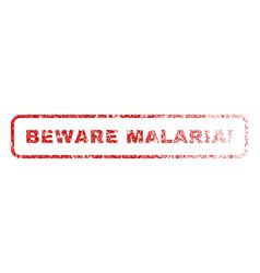 Beware malaria exclamation rubber stamp vector