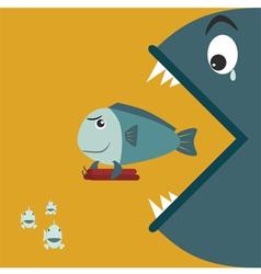 Big fish eating a small fish at the holding bomb vector image vector image