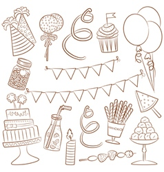 birthday party icons vector image vector image