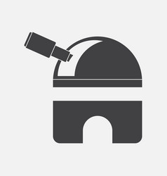 Black icon on white background telescope station vector