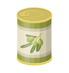 Canned olives in a canolives single icon in vector