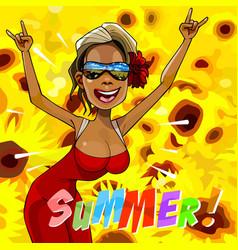 Cartoon happy woman rejoice summer vector