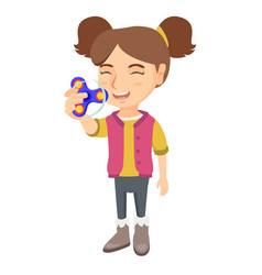 caucasian little girl playing with fidget spinner vector image vector image