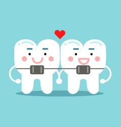 cute smiling cartoon teeth characters with vector image