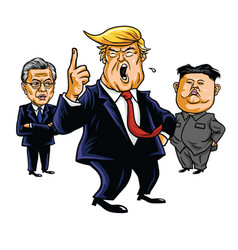 donald trump kim jong un moon jae in cartoon vector image