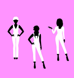 Fashion woman model in suit silhouettes vector