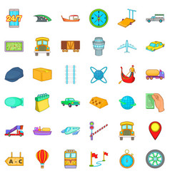 fast delivery icons set cartoon style vector image