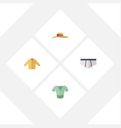 Flat icon clothes set of elegant headgear banyan vector