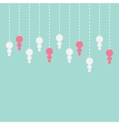 Hanging pink and white pearl gem dash line cute vector