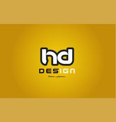 Hd h d alphabet letter combination digit white on vector