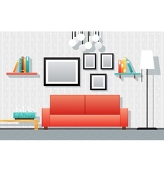 House interior living room furniture icons set vector