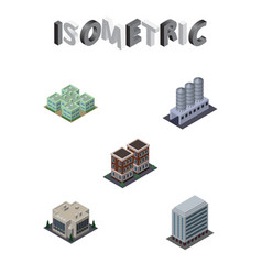 Isometric urban set of house clinic company and vector