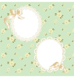 lace frame with ribbons vector image vector image