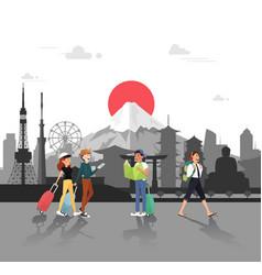 lets travel in japan for seeing landmarks design vector image vector image