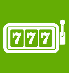 lucky seven on slot machine icon green vector image vector image