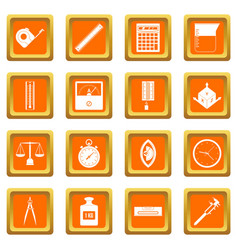 Measure precision icons set orange vector