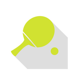 Ping pong paddle with ball pear icon with flat vector