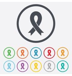 Ribbon sign icon Breast cancer awareness symbol vector image