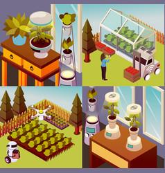 Robotised farmstead design concept vector