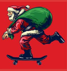 santa claus riding skateboard while bringing a vector image vector image