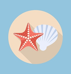 Starfish and shell flat icon vector image
